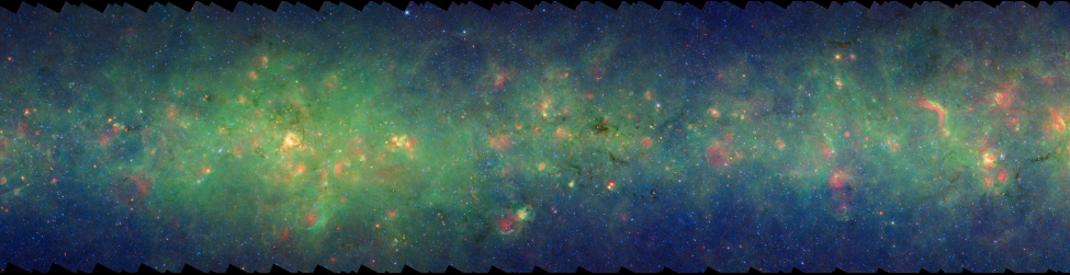Infrared Emission from the Plane of the Milky Way. In this image the diffuse glow of interstellar dust at 3.6 and 8.0 microns fills the frame. Bright, circular patches of red nebulosity at 24 microns along with irregular patches and tendrils of dark dust are scattered across the entire field.