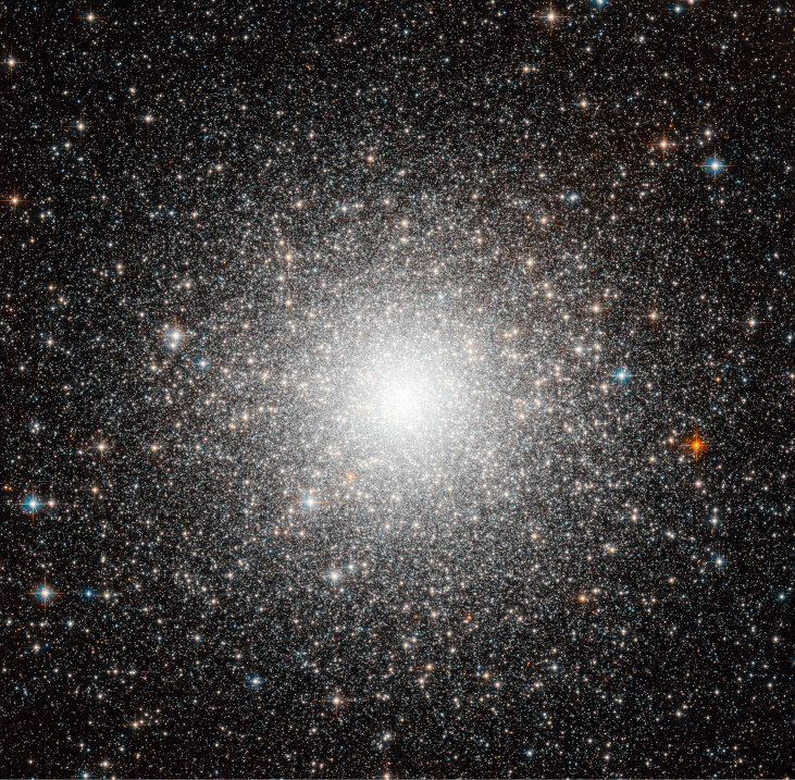 Globular Cluster M54. A nearly perfectly spherical cluster of stars, so dense that the central core appears as a bright patch of light rather than individual stars.