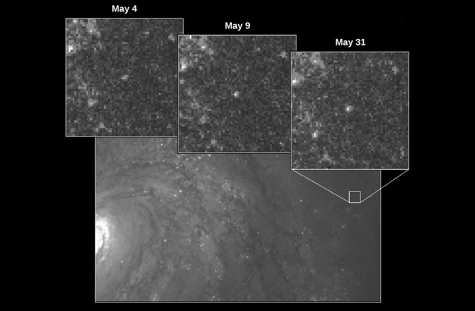 "Cepheid Variable Star in M100. In the background of this image is a portion of the galaxy M100. At center right is a small white box indicating the area that contains the variable star observed using the Hubble Space Telescope. Along the top of the image are three insets showing the star at three different times. From left: ""May 4"", ""May 9"" and ""May 31"". The star is significantly brighter in the May 31 image."