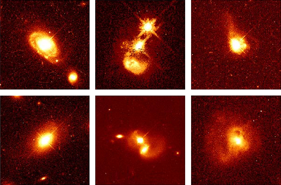 "Quasar Host Galaxies. These HST images reveal the details of the fainter ""host"" galaxies around quasars. The top left image shows a quasar at the heart of a spiral galaxy 1.4 billion light years away. The bottom left image shows a quasar at the center of an elliptical galaxy some 1.5 billion light years from Earth. The middle images show remote pairs of interacting galaxies, in which one of the galaxies harbors a quasar. Each of the images at right shows long tails of gas and dust streaming away from galaxies that contain a quasar."