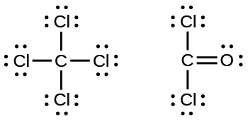 Two Lewis structures are shown. The left depicts a carbon atom single bonded to four chlorine atoms, each with three lone pairs of electrons. The right shows a carbon atom double bonded to an oxygen atom that has two lone pairs of electrons. The carbon atom is also single bonded to two chlorine atoms, each of which has three lone pairs of electrons.