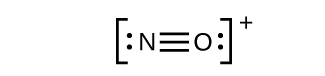 A Lewis structure shows a nitrogen atom with one lone pair of electrons triple bonded to an oxygen with a lone pair of electrons. The structure is surrounded by brackets and has a superscripted positive sign.