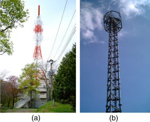 The first photograph shows a large tower used to broadcast TV signals. The tower is alternately painted red and white along the length. The antennas are shown as small structures on top of the tower. The second photograph shows a photo of a mobile phone tower. The tower has two ring shaped structures at its top most point.