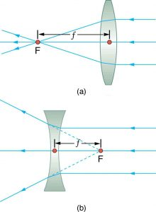 Figure (a) shows three parallel rays incident on the right side of a convex lens; after refraction they converge at F on the left side of the lens. The distance from the center of the lens to F is small f. Figure (b) shows three parallel rays incident on the right side of a concave lens; after refraction they appear to have come from F on the right side of the lens. The distance from the center of the lens to F is small f.