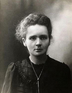 A photograph of Marie Curie