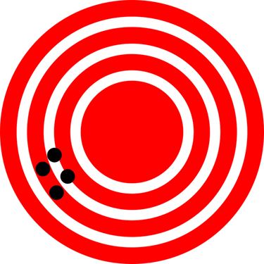 A pattern similar to a dart board with a few concentric circles shown in white color on a red background. Near the outermost white circles there are four black points showing the positions of a restaurant. The black points are very close to each other.