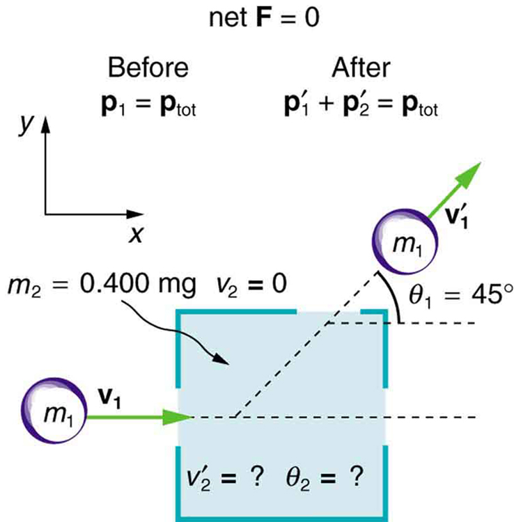 A purple ball of mass m1 and velocity v one moves in the right direction into a dark room. It collides with an object of mass m two of value zero point four zero milligrams which was initially at rest and then leaves the dark room from the top right hand side making an angle of forty-five degrees with the horizontal and at velocity v one prime. The net external force on the system is zero. The momentum before and after collision remains the same. The velocity v two prime of the mass m two and the angle theta two it would make with the horizontal after collision not given.