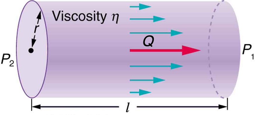 The figure shows a section of a cylindrical tube of length l. The two end cross section are shown to have pressure P two and P one respectively. The radius of the cylindrical tube is given by r. The direction of flow is shown by horizontal arrows toward right end of the tube. The flow rate is marked as Q.