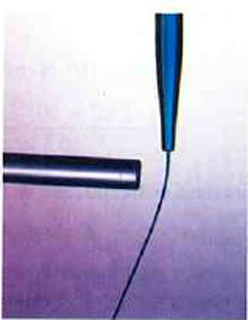 Water flowing out of a glass pipette changes its course when a charged rod is brought close to it.