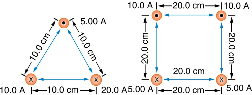 Figure a shows the cross sections of three wires that are parallel to each other and arranged in an equilateral triangle. The bottom left wire has current of ten point zero amps into the page. The bottom right wire has a current of twenty point zero amps also into the page. The wire at the top of the triangle has current five point zero amps out of the page. The triangle that the wires make with each other is ten point zero centimeters on each side. Figure b shows four parallel wires arranged in a square that is twenty point zero centimeters on a side. The top two wires have current of ten point zero amps out of the page. The bottom two wires have current of five point zero amps into the page.