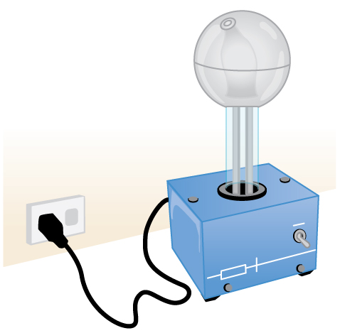 The image shows a table-top-sized electrical machine. It has a cubic base out of which comes a clear vertical tube about half-a-meter long. Inside the tube a conveyer belt is seen running up and down the tube. On top of the tube is a metallic sphere maybe thirty centimeters in diameter.