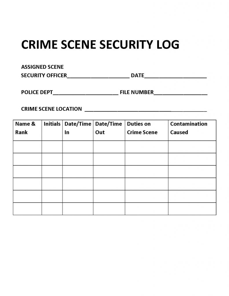 Crime scene security log. Long description available.