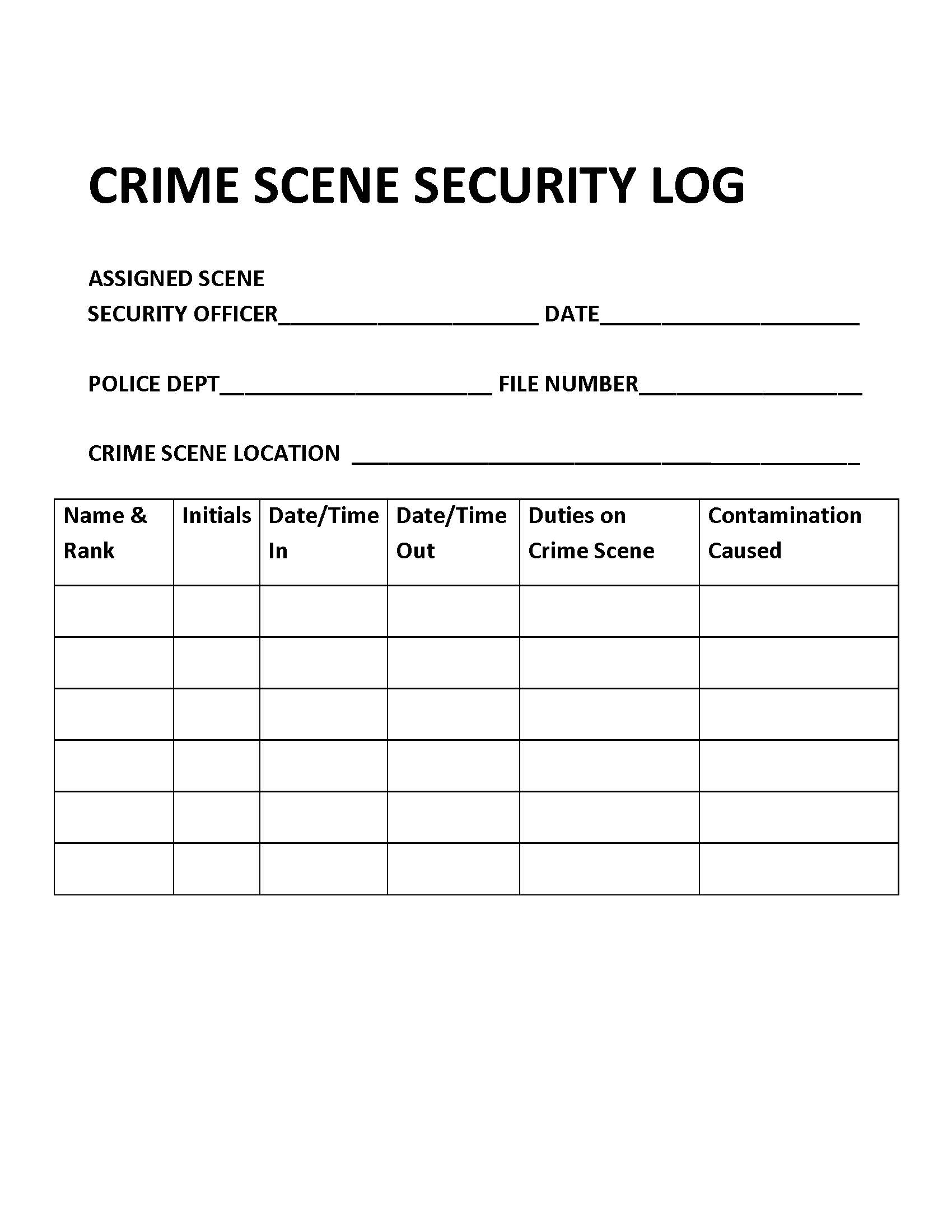 crime scene security log  u2013 introduction to criminal