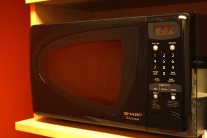 A microwave oven is shown with some food on the nonmetal plate inside it.