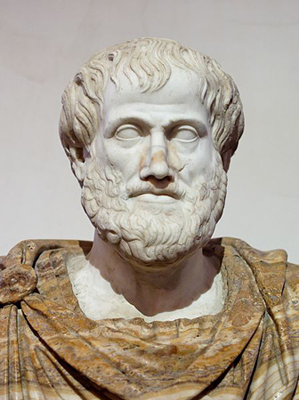 A marble statue of Aristotle.