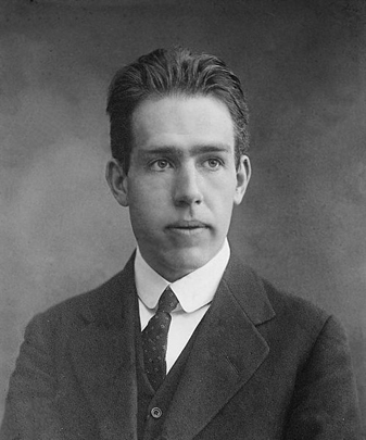 A photograph of Niels Bohr
