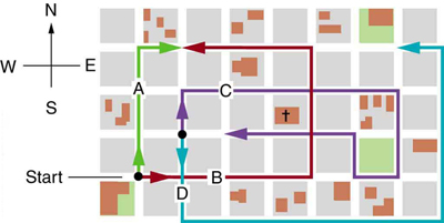 A map of city is shown. The houses are in form of square blocks of side one hundred and twenty meter each. Four paths A B C and D are shown in different colors. The path c shown as blue extends to one block towards north, then five blocks towards east and then two blocks towards south then one block towards west and one block towards north and finally three blocks towards west. It is asked to find out the total distance traveled the magnitude and the direction of the displacement from start to finish for path C.