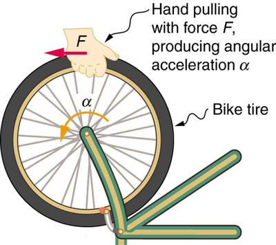 The given figure shows a bike tire being pulled by a hand with a force F backward indicated by a red horizontal arrow that produces an angular acceleration alpha indicated by a curved yellow arrow in counter-clockwise direction.
