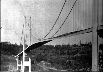 The figure shows a black and white photo of the Tacoma Narrows Bridge, from the left side view. The middle of the bridge is shown here in an oscillating state due to heavy cross winds.