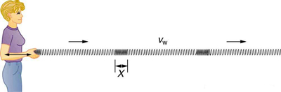 The figure shows a woman standing at left pushing a long spring in to and fro motion in horizontal direction away from her without moving her hand up and down. The cord stretches and contracts back and forth. This is an example of a longitudinal wave, the wave propagates horizontally. At some points the spring is compressed and at some other points the spring is expanded. One contracted part is equal to the amplitude X.