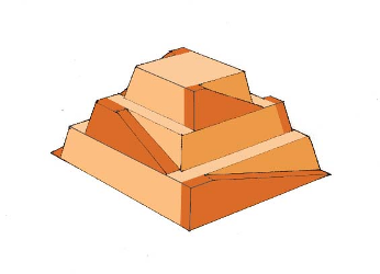 A model of a step pyramid is shown with ramps along the sides of each step.