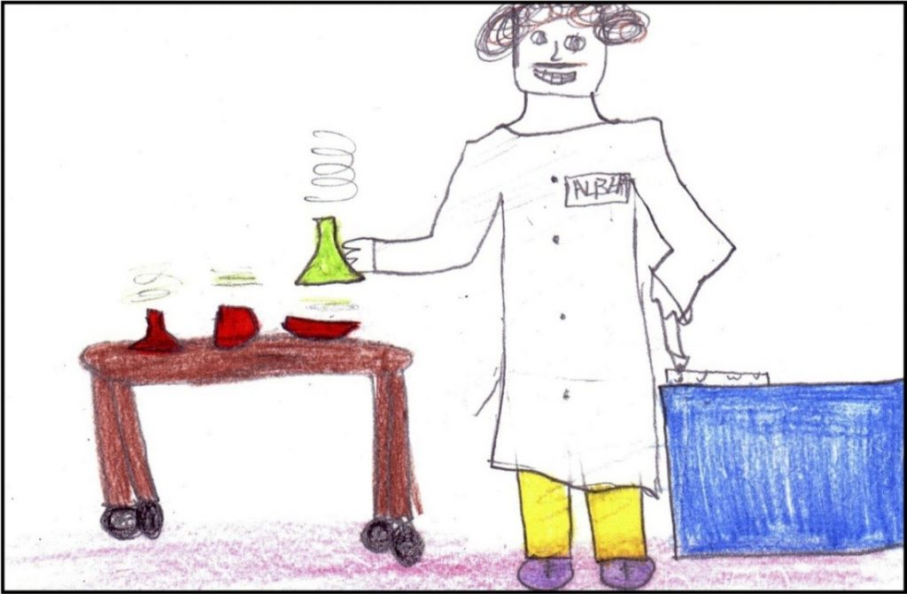 "Drawing by Grade 5/6 male student depicting a scientist ""making chemicals and writing down the results. He is Albert Einstein."""