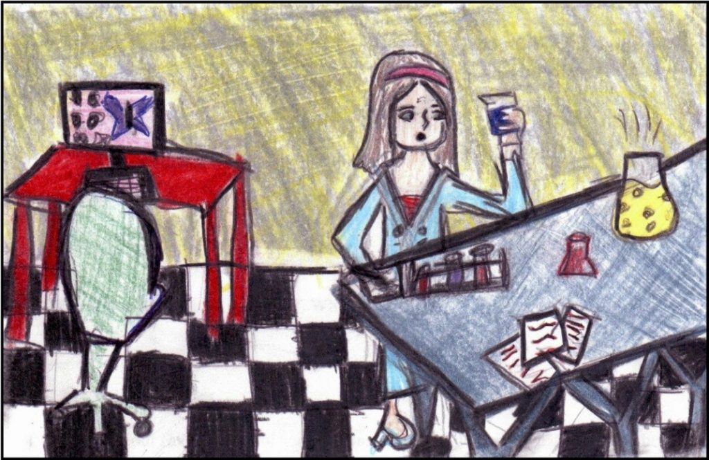 """Drawing by Grade 5/6 female student depicting a female scientist """"making medicine to stop all kinds of cancer."""""""