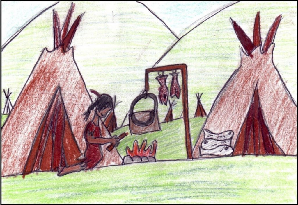 "Drawing by Grade 5/6 female student depicting a ""girl cooking dinner by starting a fire and drying fish."""