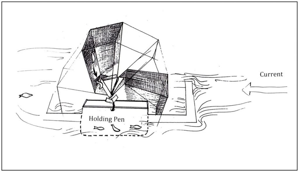 Nisga'a fish wheel showing holding pen