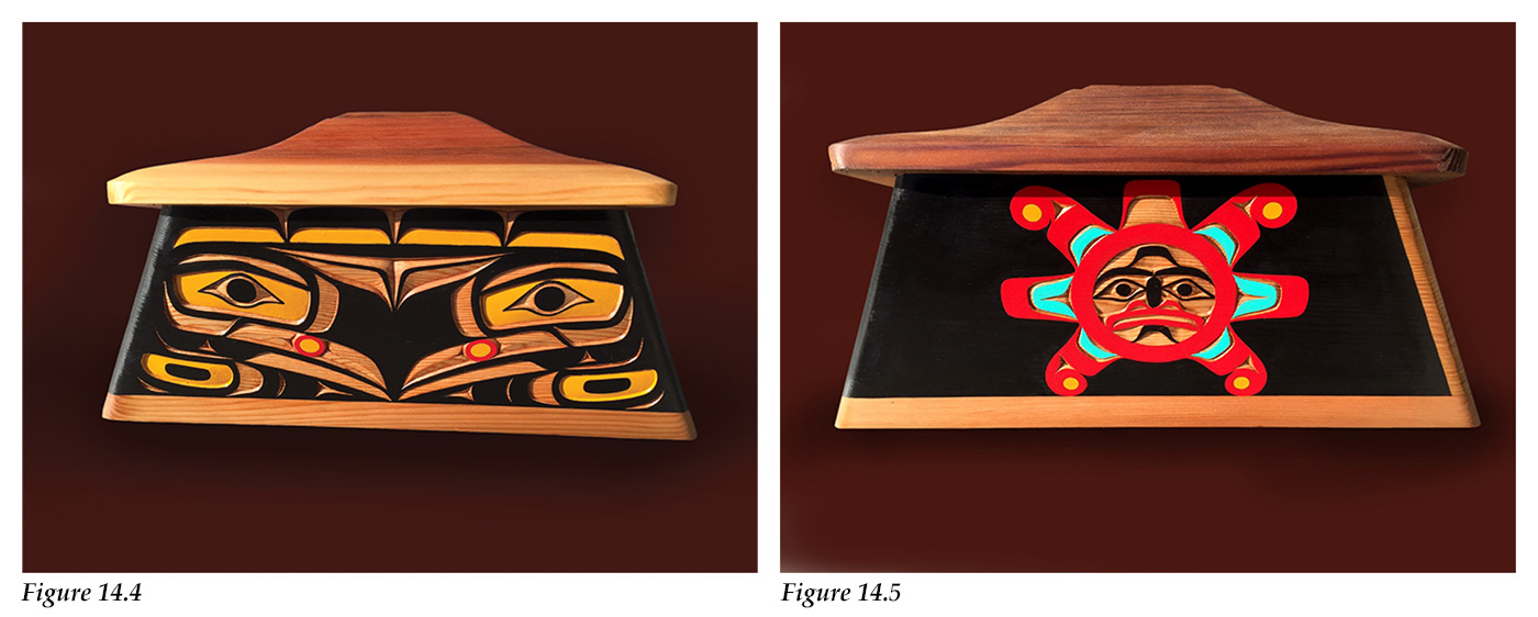 Bentwood boxes depicting Raven releasing Sun and darkness replaced by sunlight by 'Namgis master artist Bruce Alfred