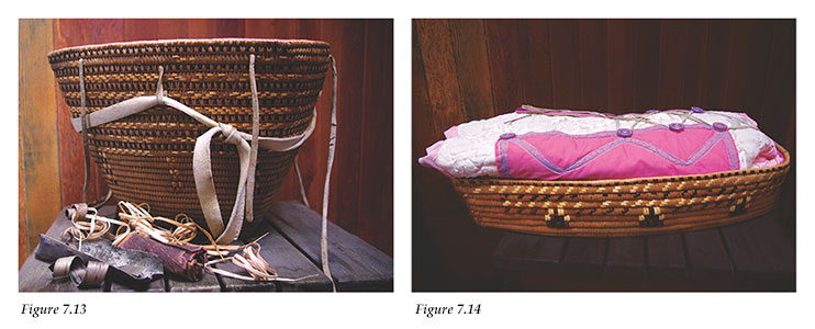 Berry picking basket and baby cradle