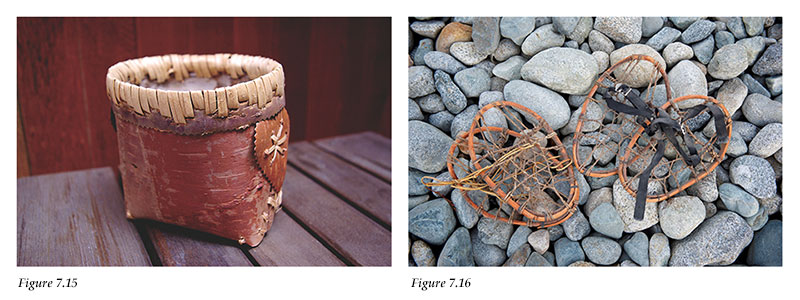Birch bark basket and Lil'wat snowshoes for a child