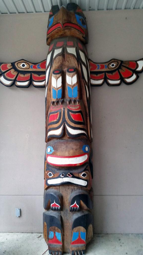 Carved totem pole