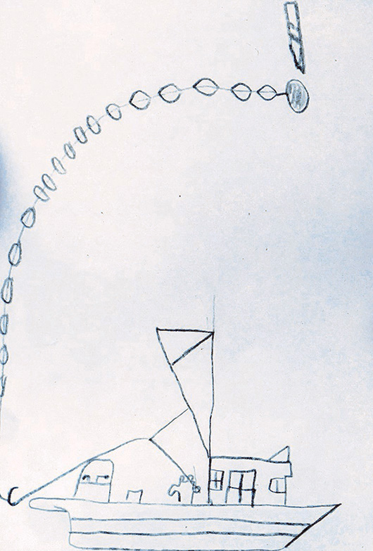 A child's drawing depicting an aerial view of a purse seiner boat