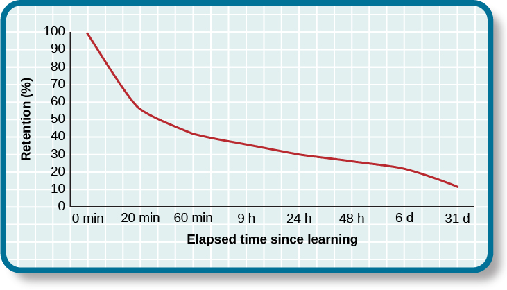"A line graph has an x-axis labeled ""elapsed time since learning"" with a scale listing these intervals: 0, 20, and 60 minutes; 9, 24, and 48 hours; and 6 and 31 days. The y-axis is labeled ""retention (%)"" with a scale of zero to 100. The line reflects these approximate data points: 0 minutes is 100%, 20 minutes is 55%, 60 minutes is 40%, 9 hours is 37%, 24 hours is 30%, 48 hours is 25%, 6 days is 20%, and 31 days is 10%."