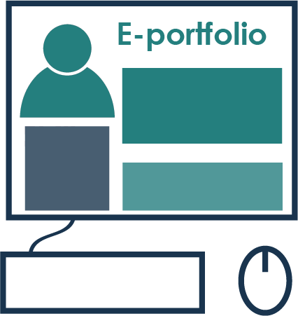 This graphic represents an eportfolio in a computer monitor