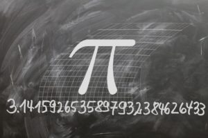 The number pi is 3.14159265359 with numbers continuing on indefinitely