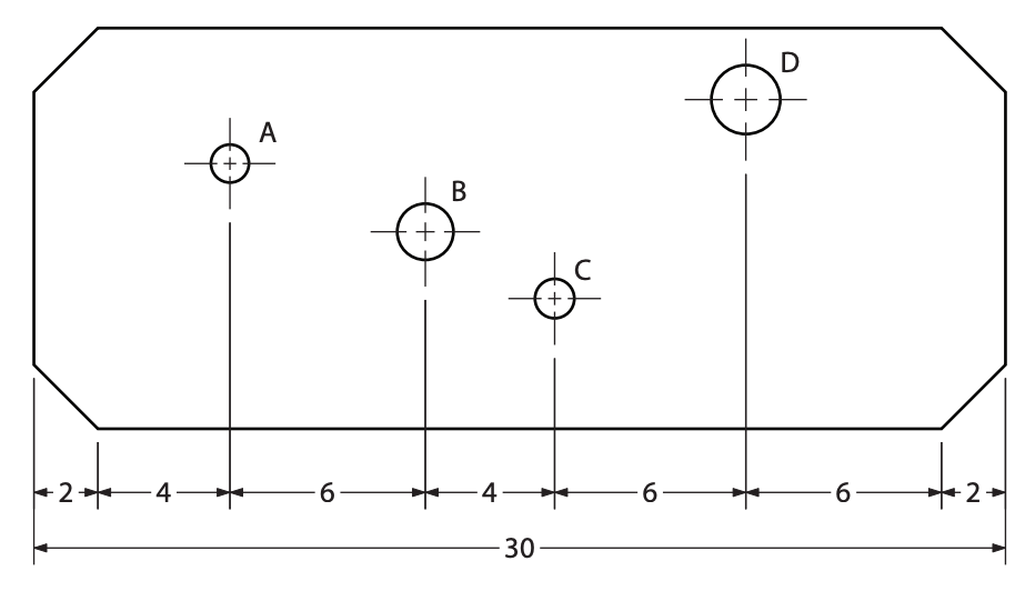 The total length of the sheet metal is 30cm. Hole A is 6cm from the left edge. Hole D is 8cm from the right edge.