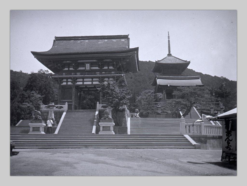A glass negative photo by John Cooper Robinson showing Robinson's daughter Hilde near the Main Gate of Kiyomizudera in Kyoto