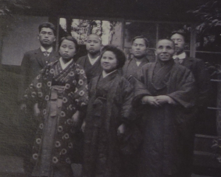 Here, students at the Gifu School for the Blind stand for a group photo.