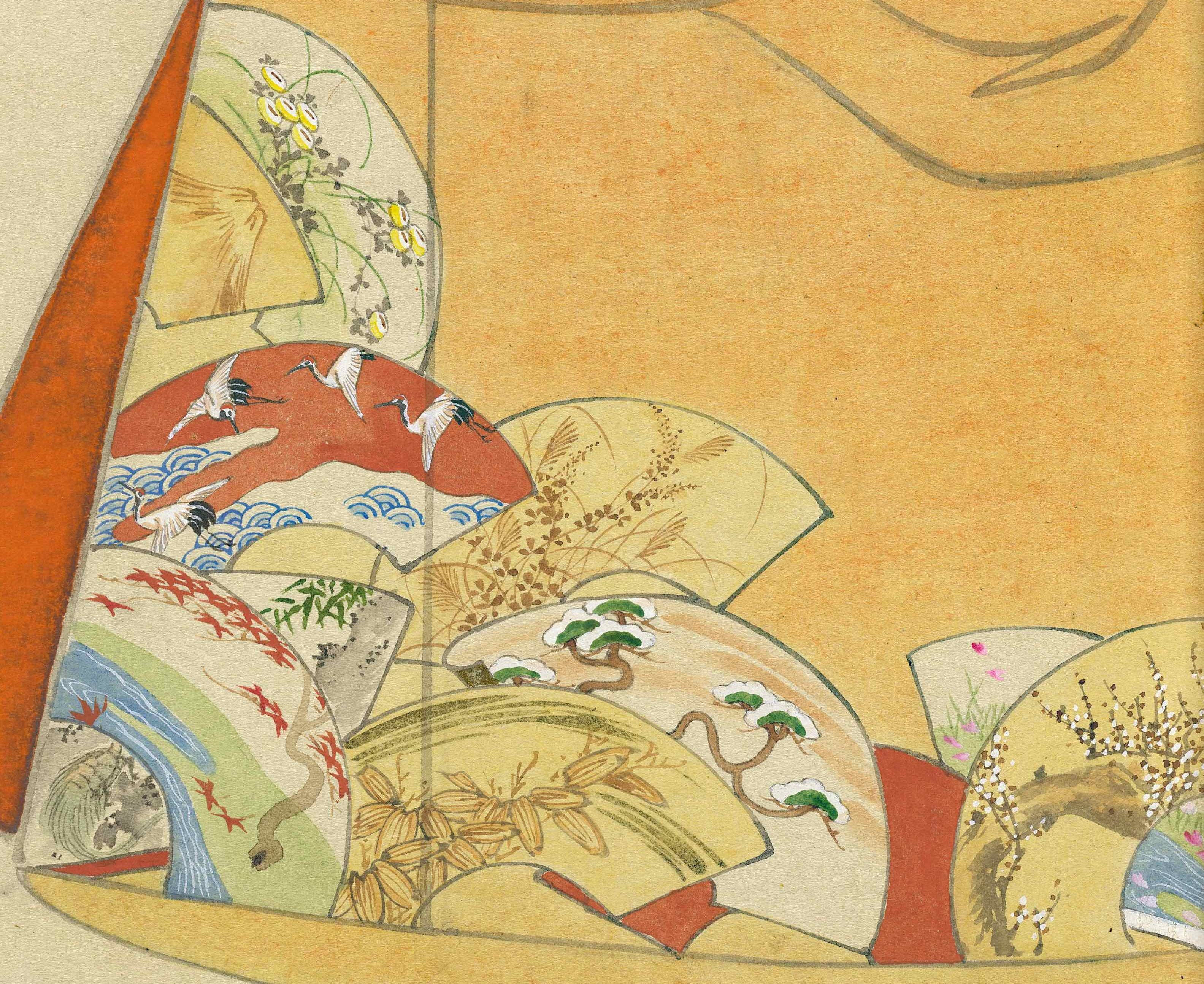 Detail of a kimono design print. The design depicts a tan kimono with a series of painted fans in the bottom corner.