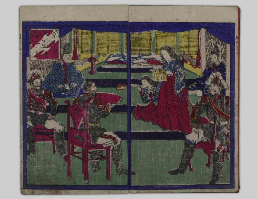 A frontispiece from Meiji Eimei Hyaku'ei Sen depicting a military figure receiving an enormous cup of saké in the presence of the emperor.