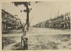A photograph of an empty Ginza Bricktown street taken at street level.