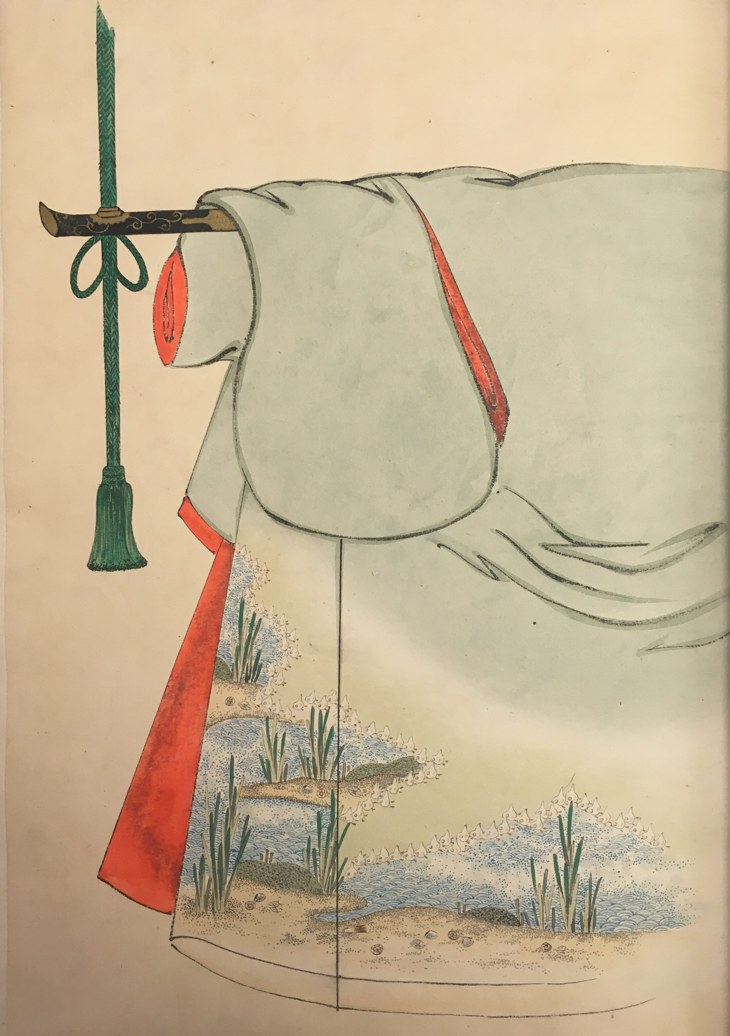 A grayish kimono with red-orange and tan interior. The pattern in the lower outside corner depicts a wing of plovers outlining the shore of a pond.