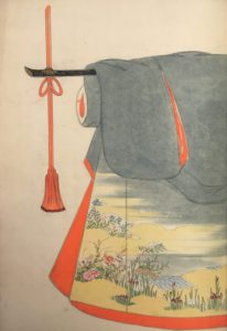 An illustration of a gray kimono with wildflowers and a beachfront in the bottom left corner.