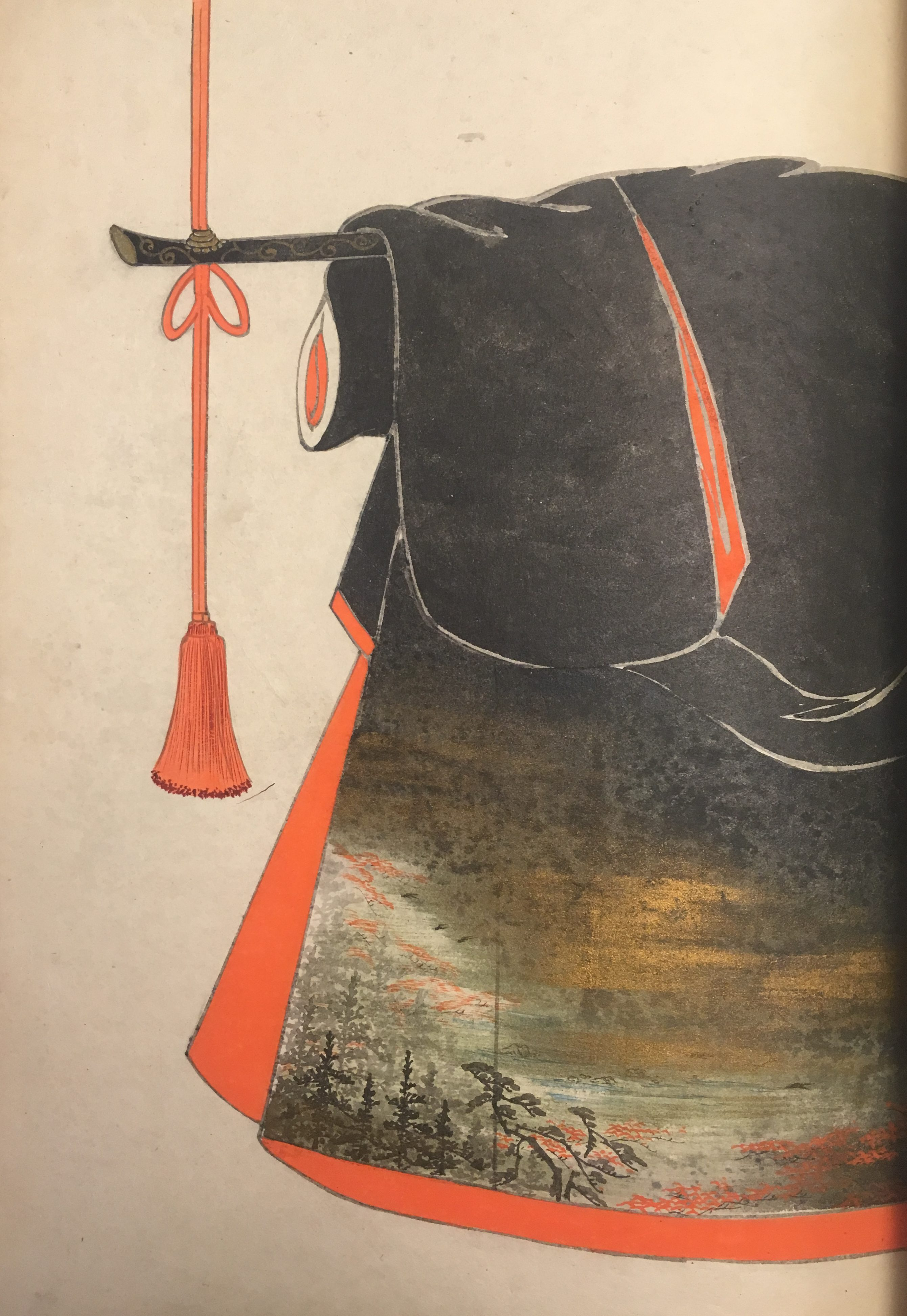 A design depicting a black kimono with a brilliant orange interior lining and an illustration of a forest under a night sky in the outside bottom corner.