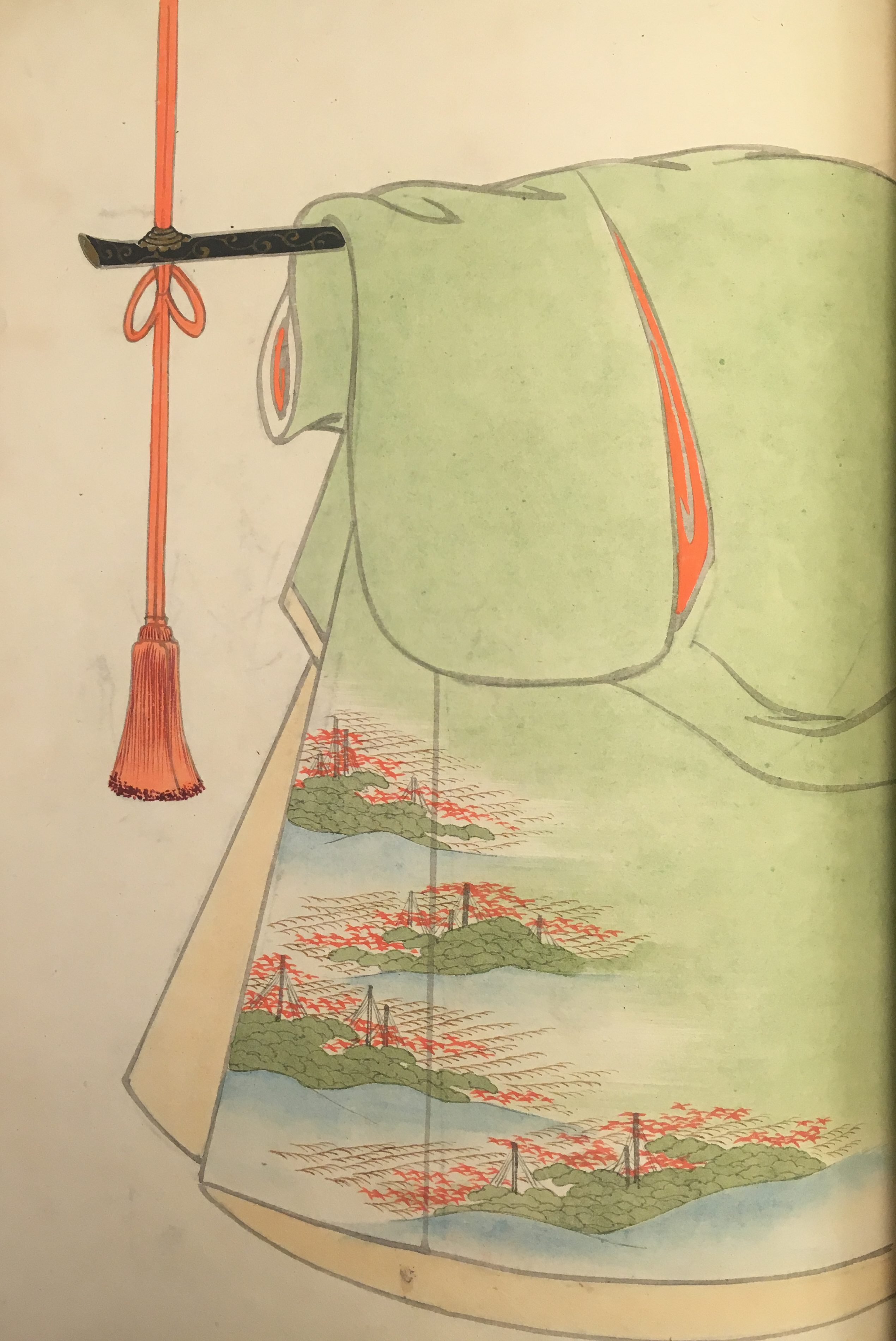 A light green kimono design with a tan interior. The pattern appears to depict a landscape of evergreen trees and flowers observed from on high.