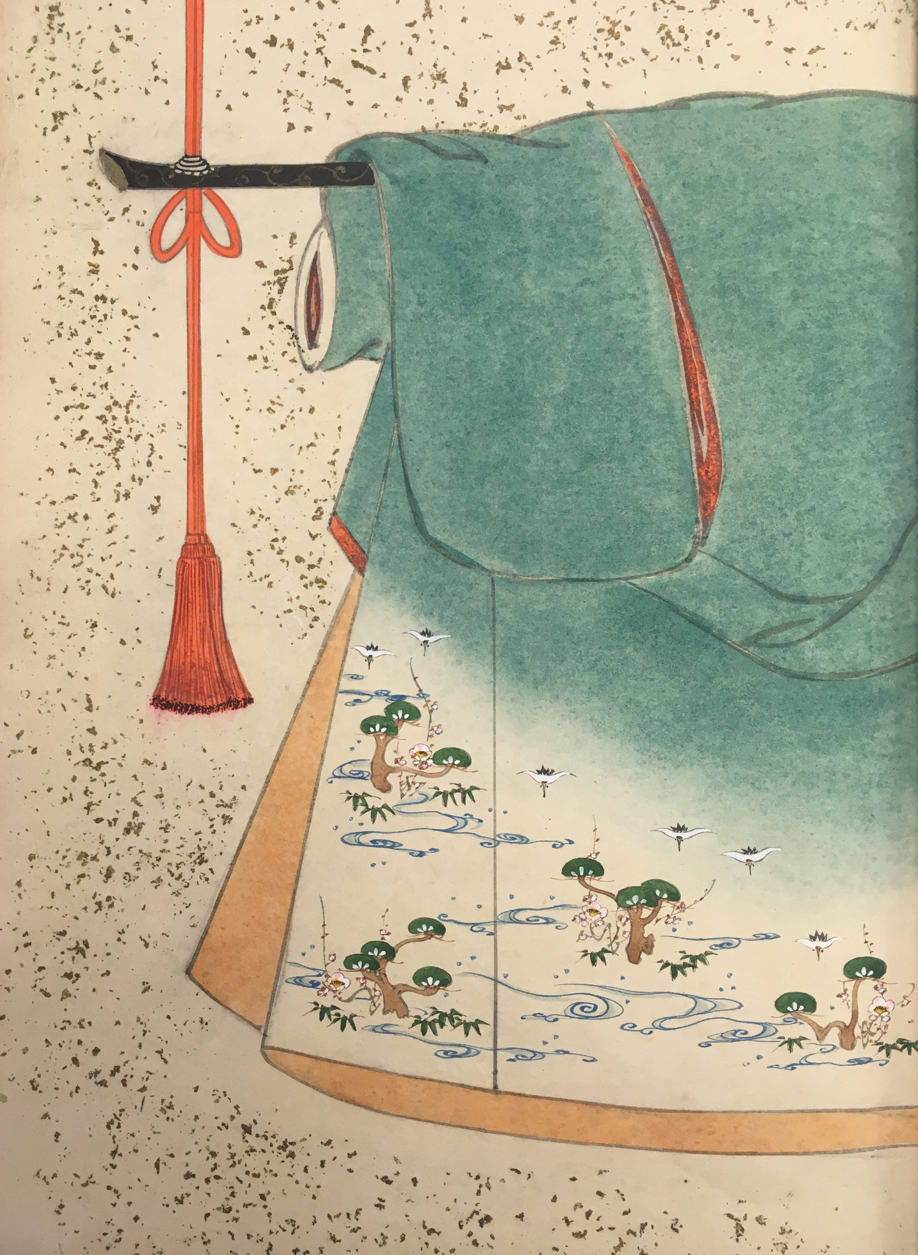 A turquoise kimono design. The kimono also has a tan interior, and a pattern depicting gulls, trees, and sea currents in the lower exterior corner.