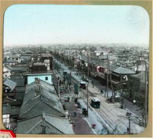 A photo depicting a rooftop view out toward Ginza Bricktown.