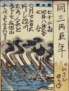 A detail from Figure 1 of storm clouds coming ashore.